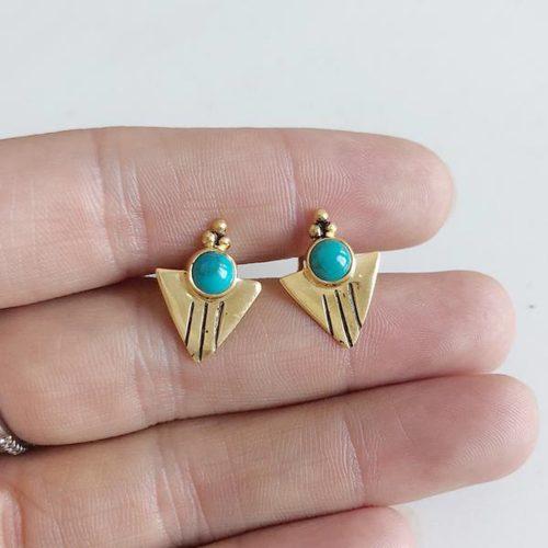 Gold Aquila Studs Turquoise
