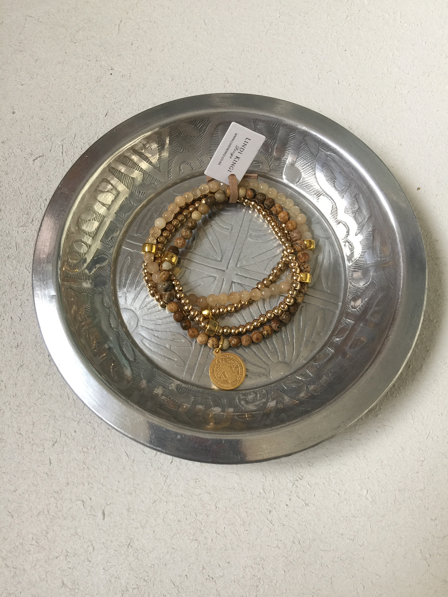 Browns, naturals & gold circle charm bracelet