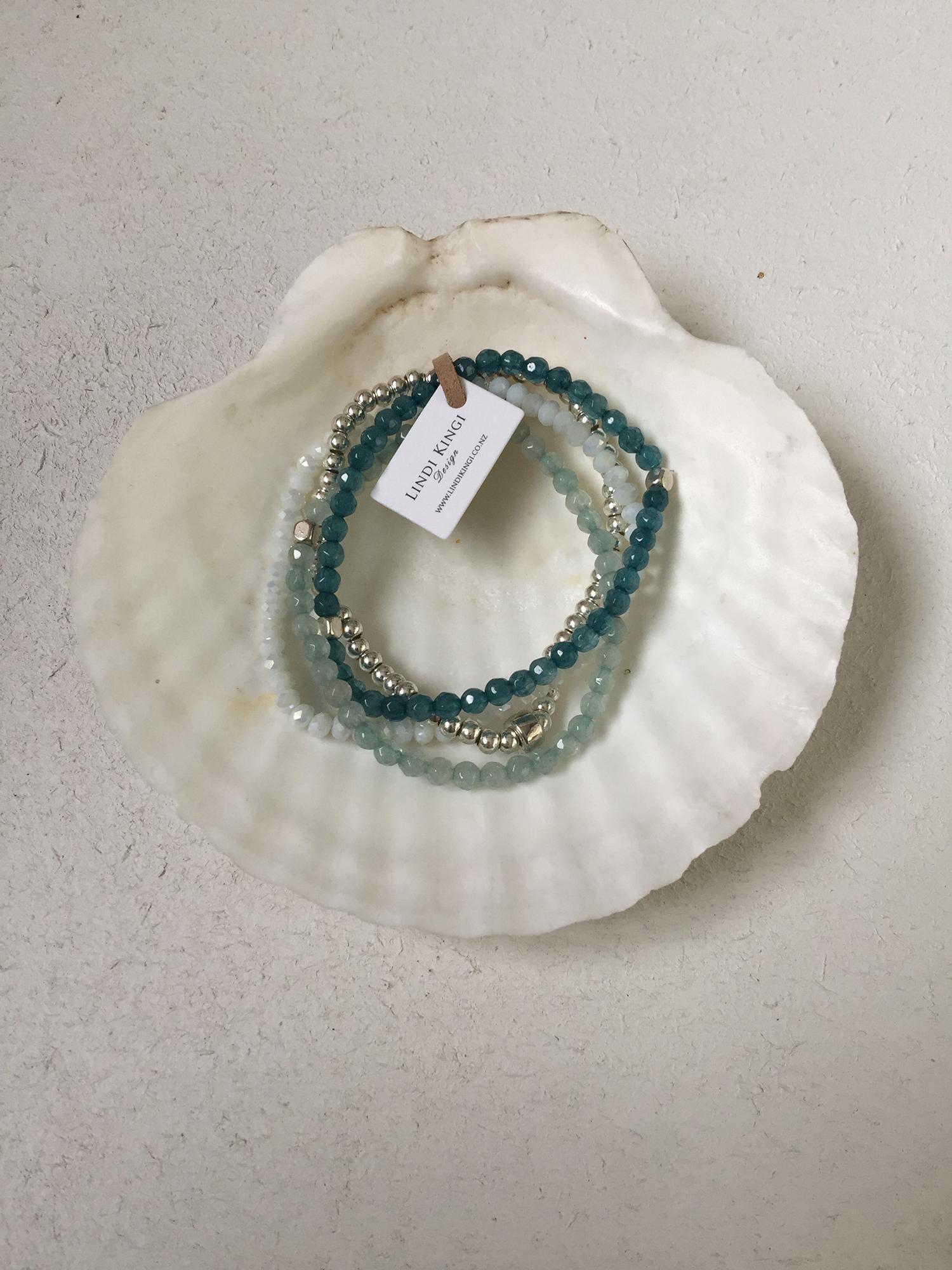 Silver & Sea Blue Bracelet