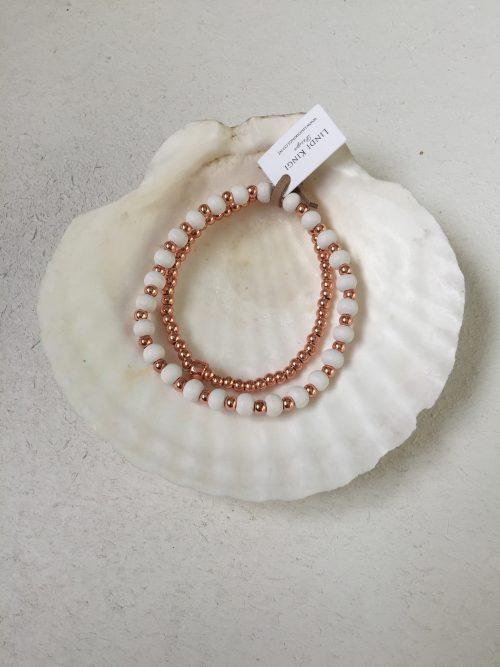 Rose gold & white bracelet set