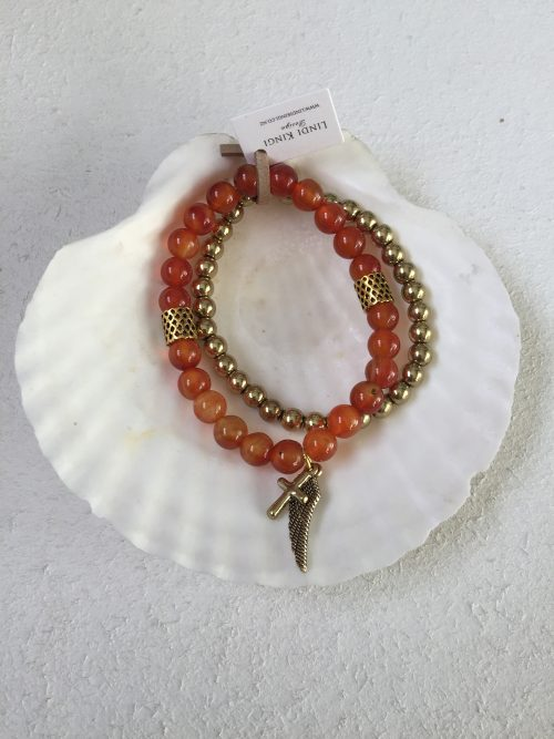 Burnt Orange & Gold Bracelet Set