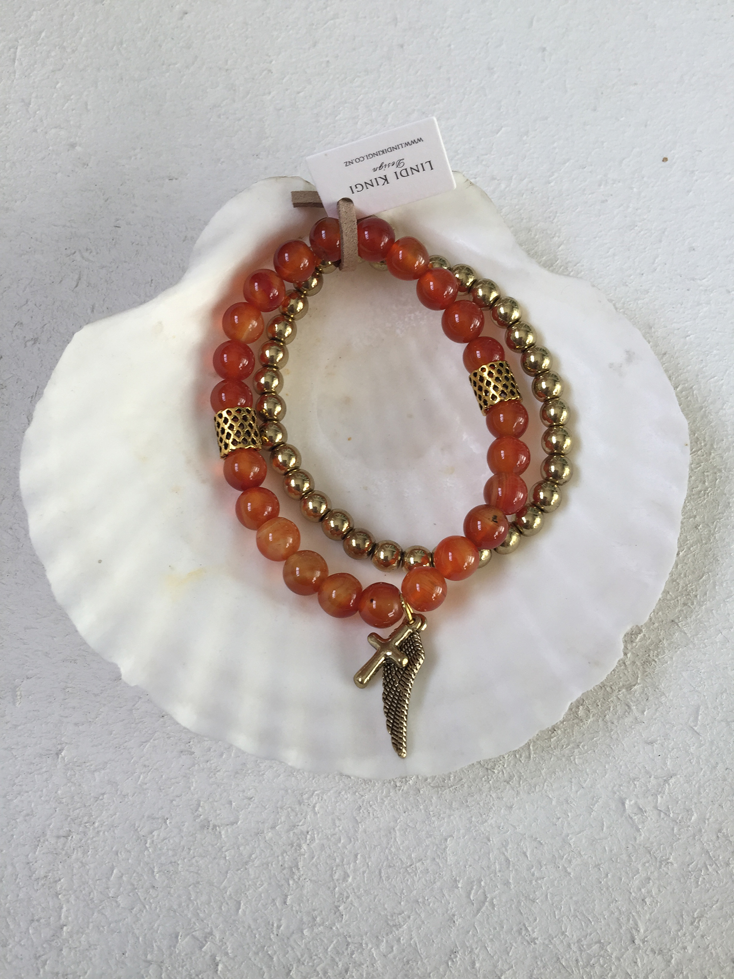 Burnt Orange & Gold Bracelet Set
