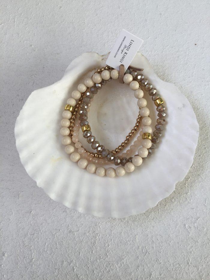 Ivory, Natural & Gold Bracelet Set